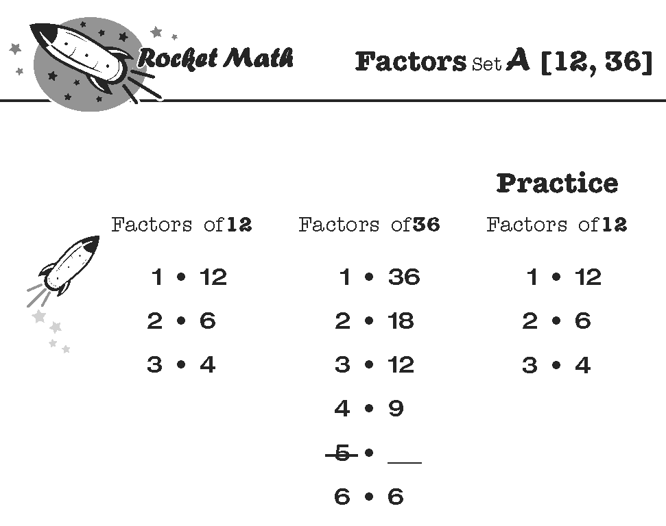 Screenshot of Rocket Math worksheet practicing the factors of 12 and 36.
