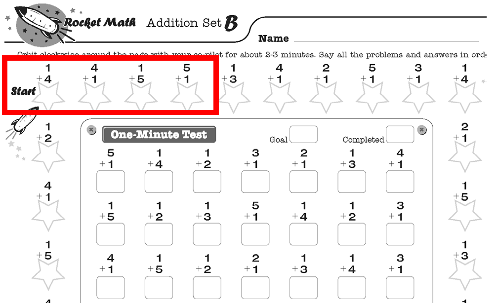 Screenshot of Rocket Math worksheet on addition fact family, set B.