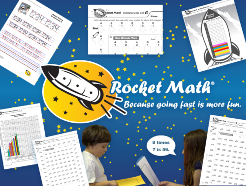 Rocket Math worksheets on starfield logo