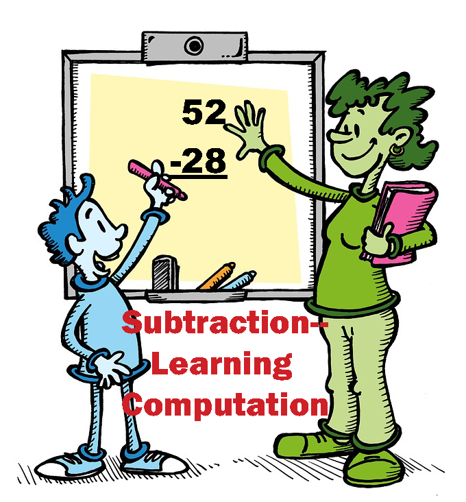 A student works through 52 minus 28, with math teaching strategies subtraction learning computation.