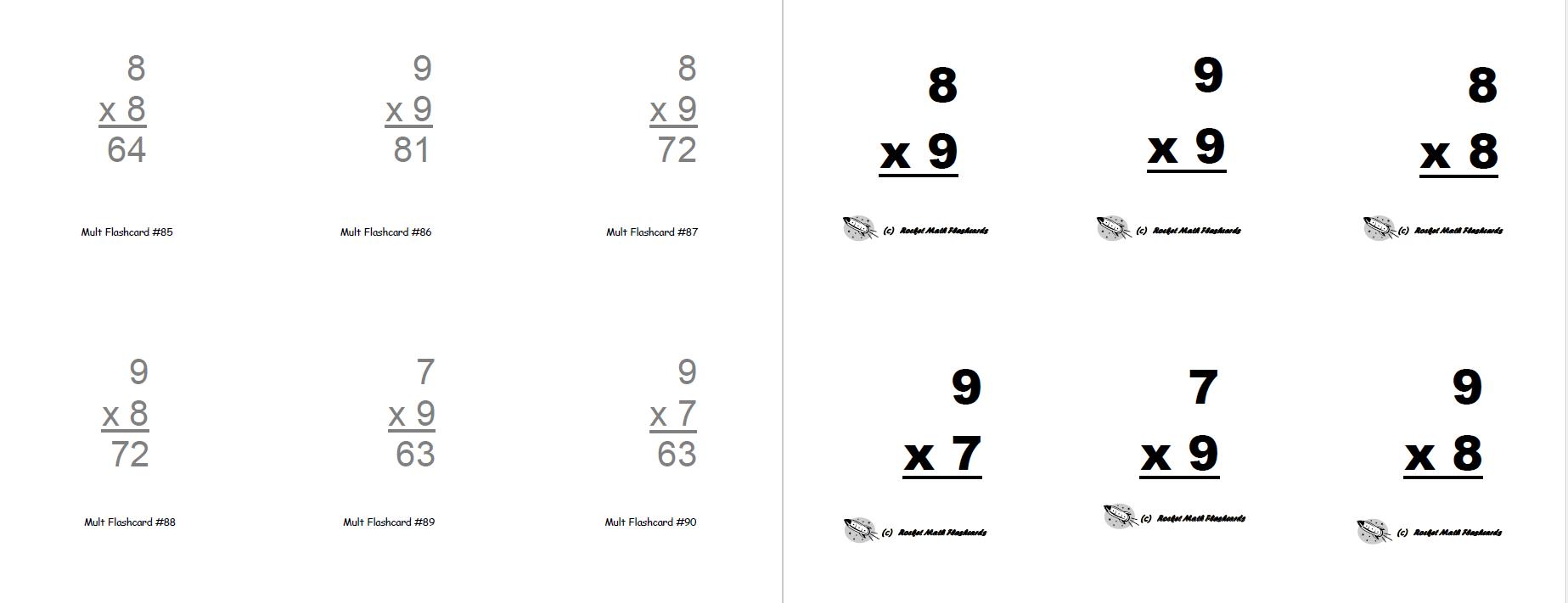 Flashcards Print Yourself Rocket Math