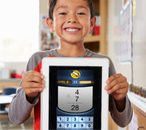 Student holding tablet with a math fact fluency app by Rocket Math
