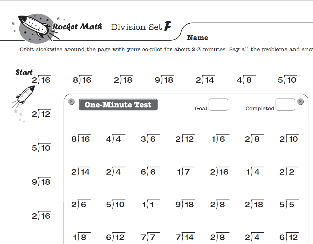 Screenshot of Rocket Math worksheet on Division math facts set F.