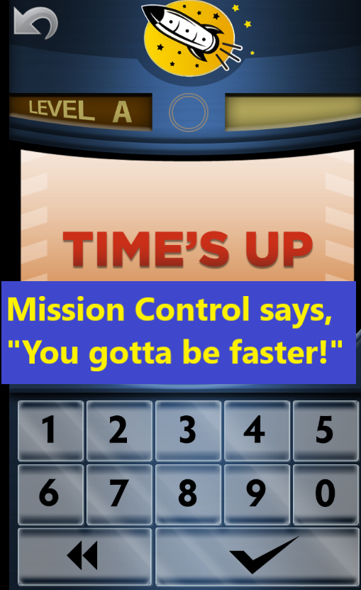 Rocket Math mobile math fact game interface
