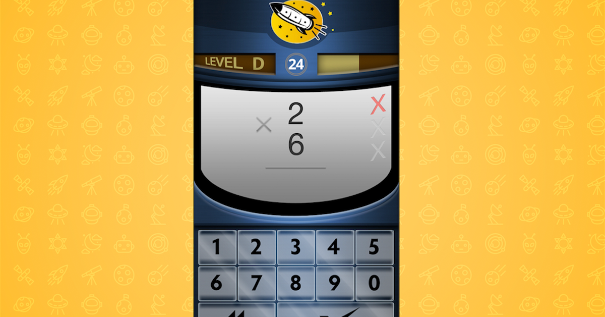 Interface of Rocket Math's math facts test online app