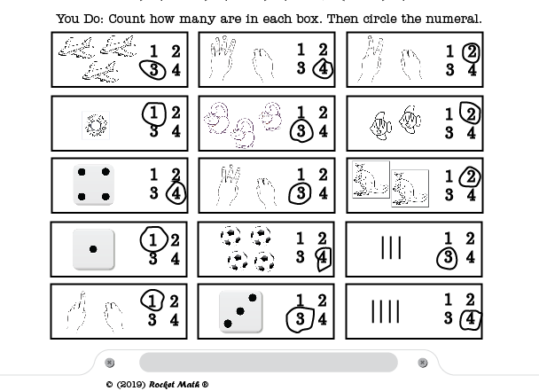 A screenshot of the worksheet portion You Do, with a grid of three by five squares each with images to count and numbers to choose from.