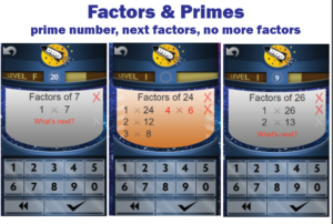 factors and primes game screens