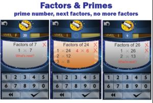 factors and primes game screens