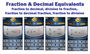 Screenshot of Rocket Math Online Game of Fraction & Decimal Equivalents practice.