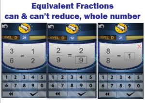 Screenshot of Rocket Math Online Game of Equivalent Fractions practice.