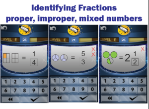 Screenshot of Rocket Math Online Game for identifying fractions.