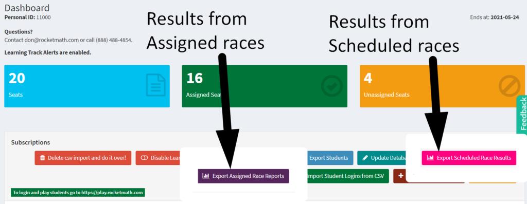 Screenshot of Rocket Math's 1 minute results.