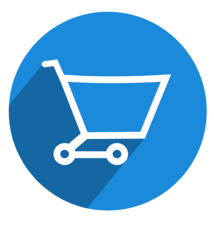 blue and white shopping cart icon