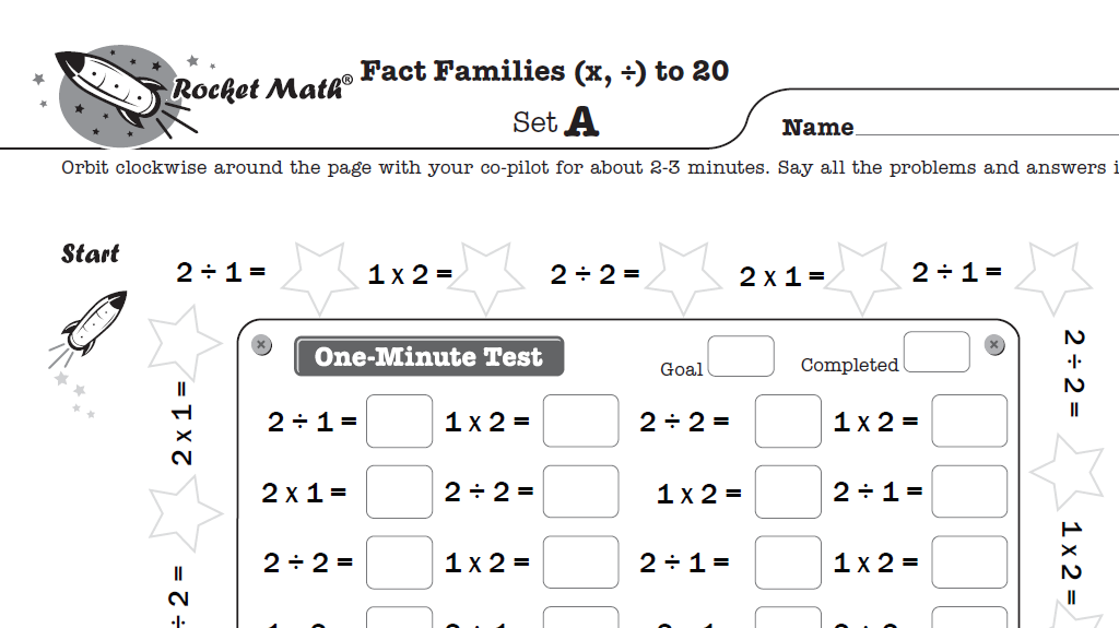 Screenshot of Rocket Math worksheet on addition and subtraction fact families up to 20.