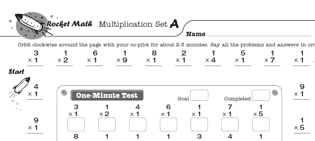 Screenshot of Rocket Math worksheet on multiplication math facts, set A.