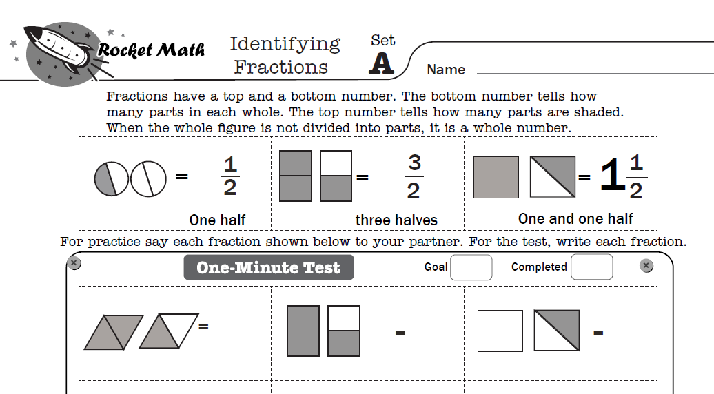 Screenshot of Rocket Math worksheet on Identifying Fractions.