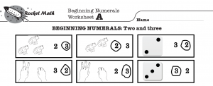 A screenshot of the Beginning Numerals Worksheet A with six boxes with images of frogs, hands, or dice in each.